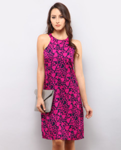 Rebecca Printed Dress – Pink & Black