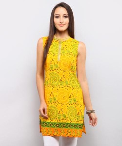 Reva Tribal Print Kurti – Yellow