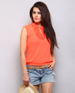 Trinity Frill Top – Coral