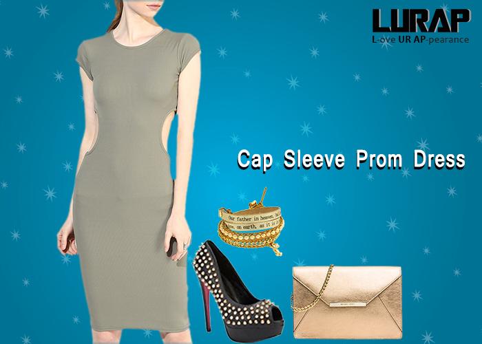 Cap Sleeve Prom Dress lurap