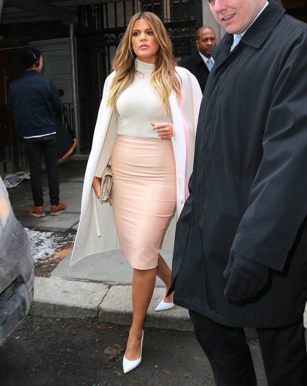 Khloe Kardashian wearing Plus Size pencil Skirt