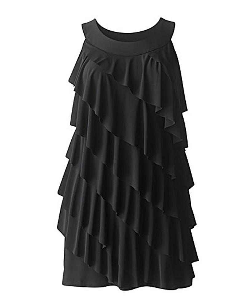 custom black ruffle tunic