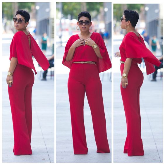Red Cape Plus size Petite Jumpsuits