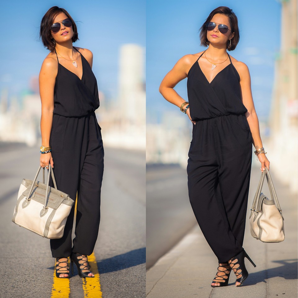Black Plus Size Jumpsuits with Heels