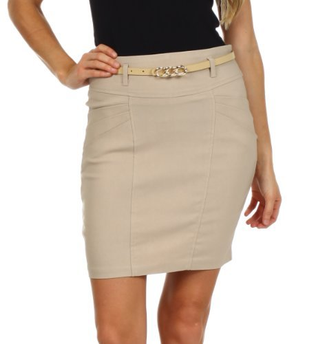 Plus size pencil skirt with belt