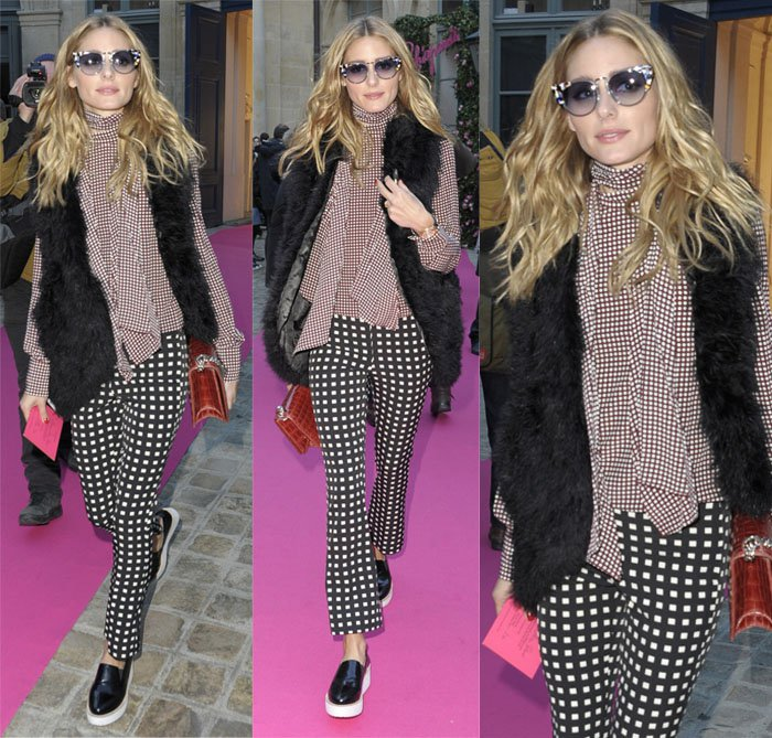 Olivia-Palermo in checkered pants plus size bottoms