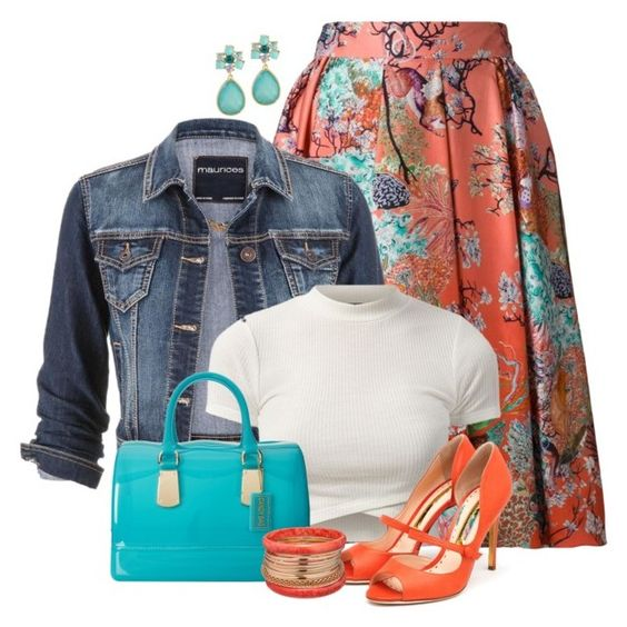 plus size floral Skirts with accessories