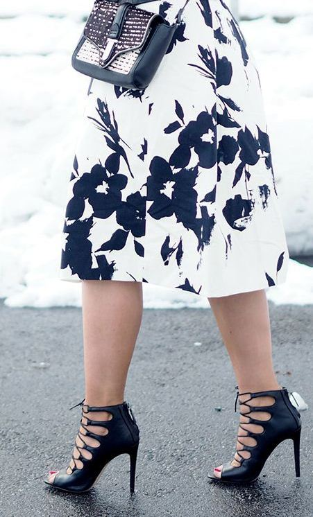 plus size floral Skirts with high heels
