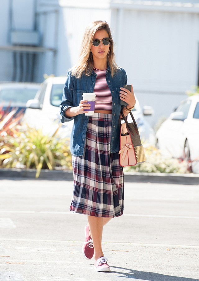 Jessica Alba Wearing Plaid A-Line Skirt