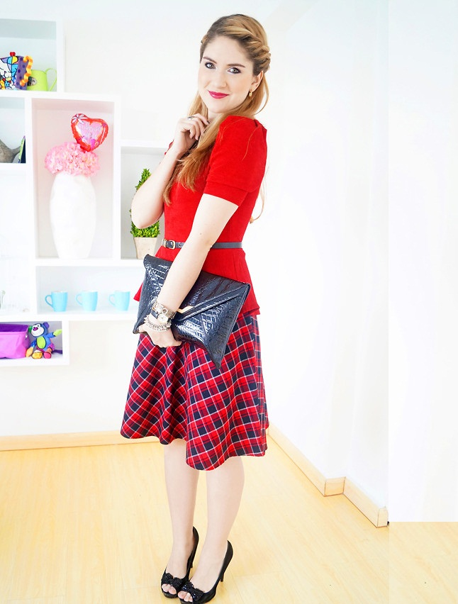 Red Top with plus size A-Line skirt