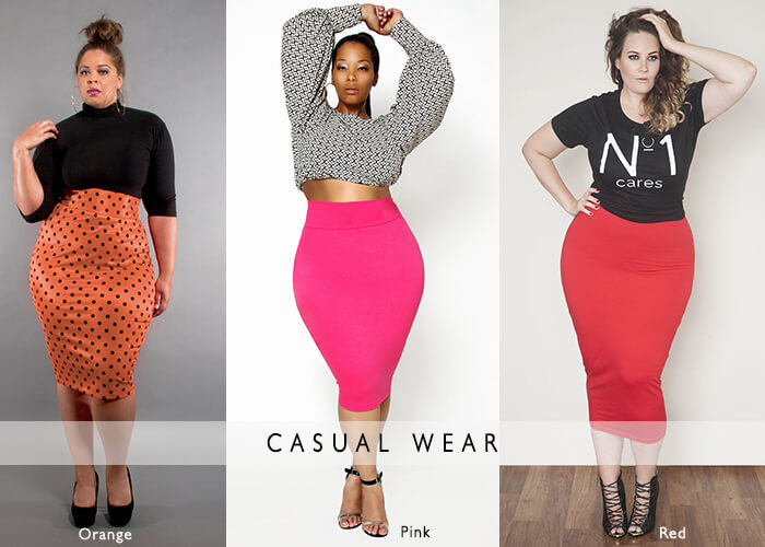 casual wear plus size pencil skirts