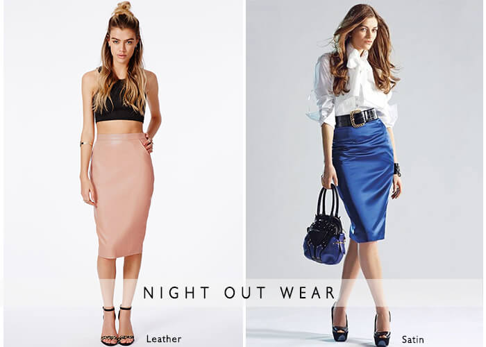 night out wear plus size pencil skirts