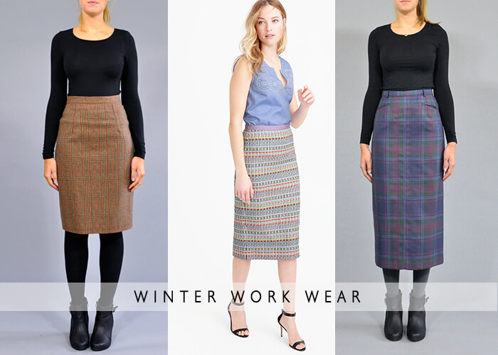 Tweeds winter work wear plus size pencil skirts