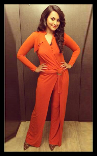 sonakshi sinha in orange jumpsuits