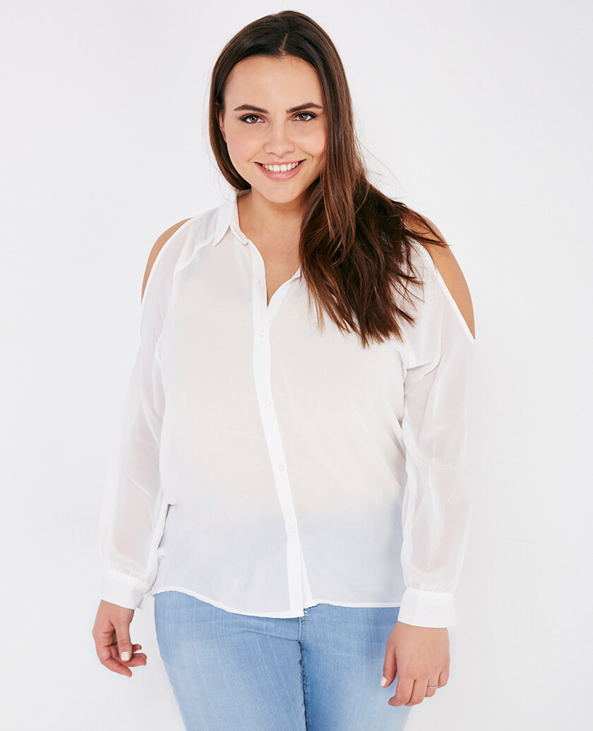 trendy White Button Down plus size for women