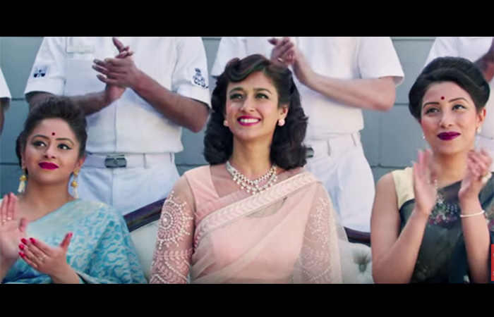 Ileana's Classic Pink-n-White Saree in rustom movie