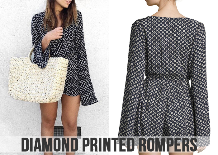 Diamond printed Rompers For Women