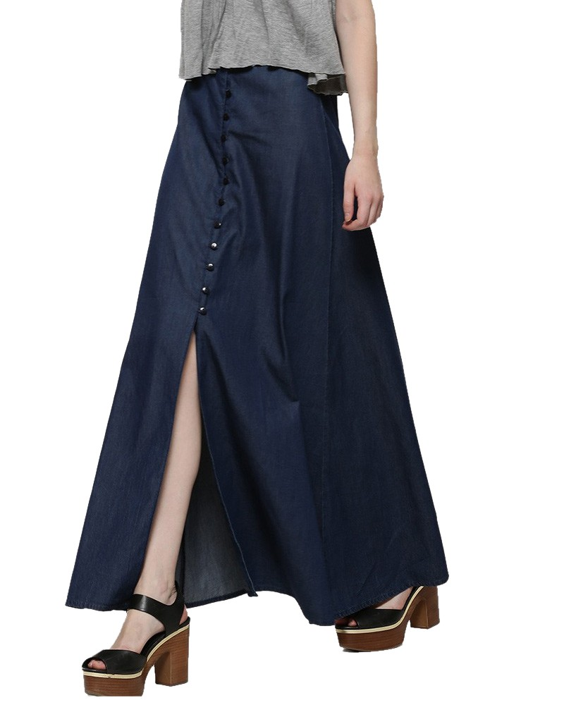 Midnight Maxi Denim Skirts for Women