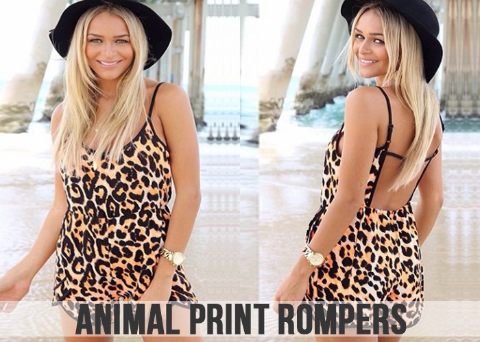 Animal print romper for women