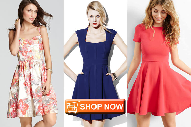 online fit and flare dresses