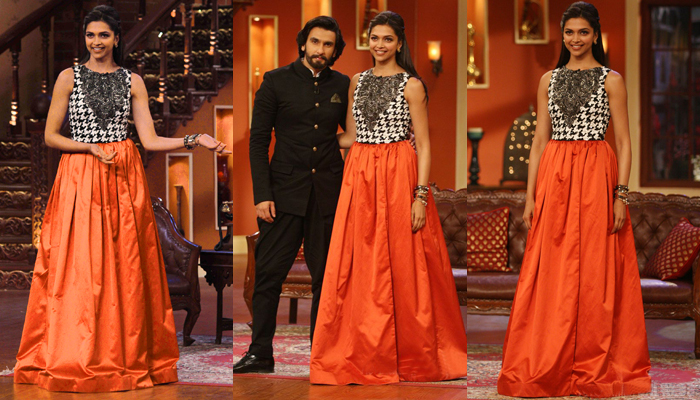 Deepika padukone red long maxi skirt in kapil sharma show