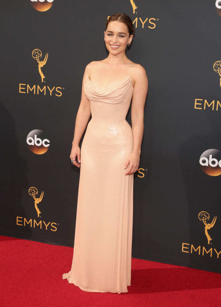 Emilia Clarke in long maxi women dresses At Emmy 2016