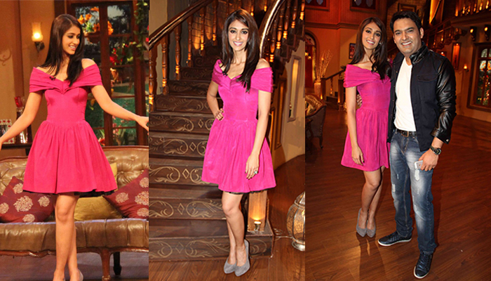 Ileana Dcruz in Pink Fit & Flare Dress in Kapil Sharma Show