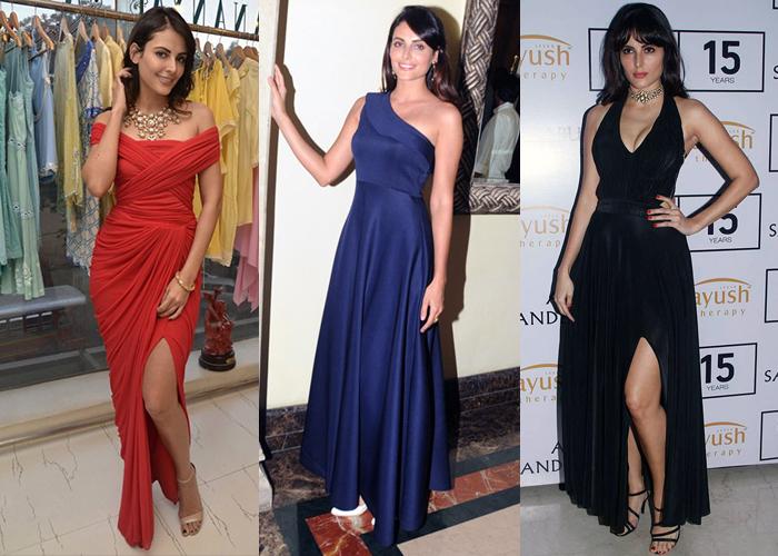 Mandana Karimi Bigg Boss season 9 contestant in red solid cocktail dress for women