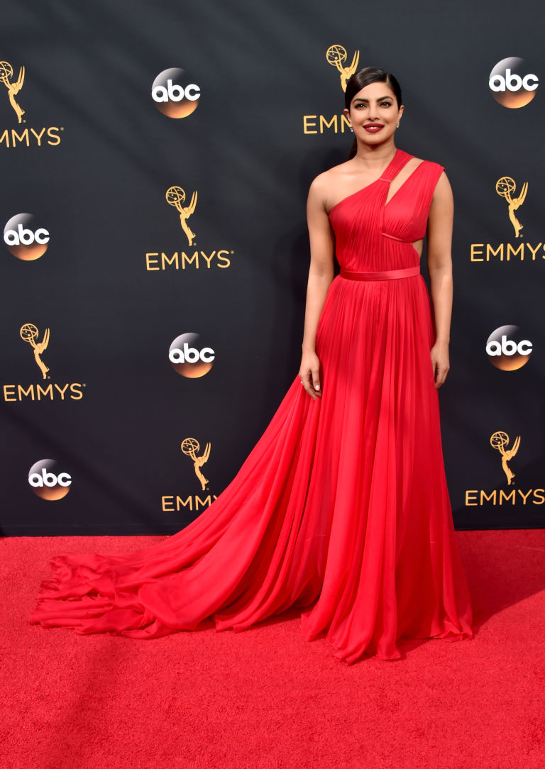 Priyanka Chopra in long red maxi women dresses at Emmy 2016