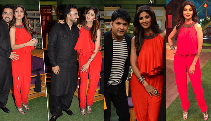 Shilpa Shetty In Beautiful Red Jumpsuits in Kapil Sharma Show