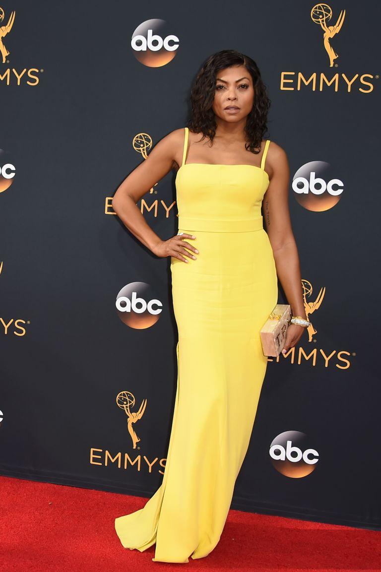 Taraji Henson in long yellow maxi women dresses Emmy 2016