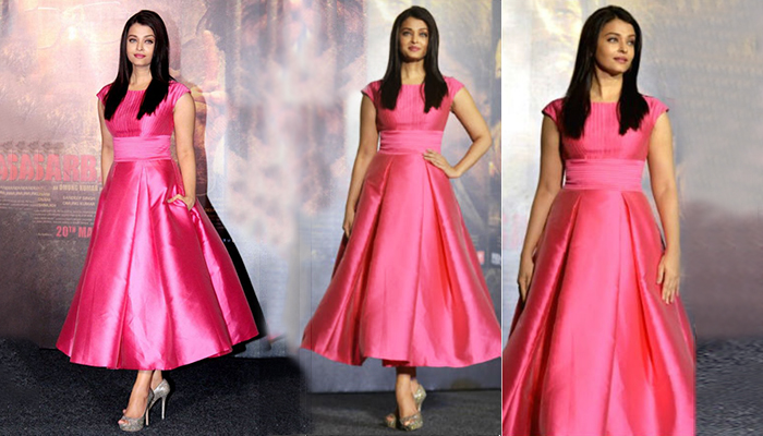 aishwarya Rai in Pink Fit & Flare dress in Kapil Sharma Show