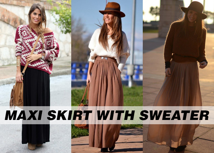 maxi skirts for women online with Sweaters