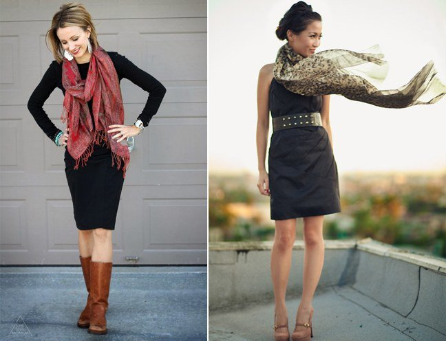 sexy little black dresses for women with scarf