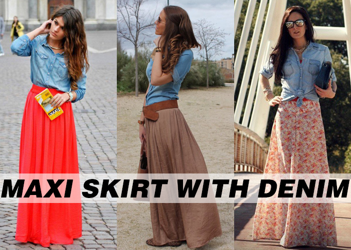 sexy maxi skirts for women with Denim