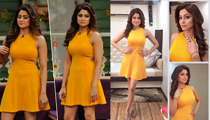 shamita-shetty on Kapil Sharma Show Yellow Fit & Flare skater dress