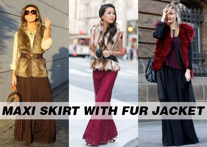 solid color maxi skirts for women with Fur Jacket