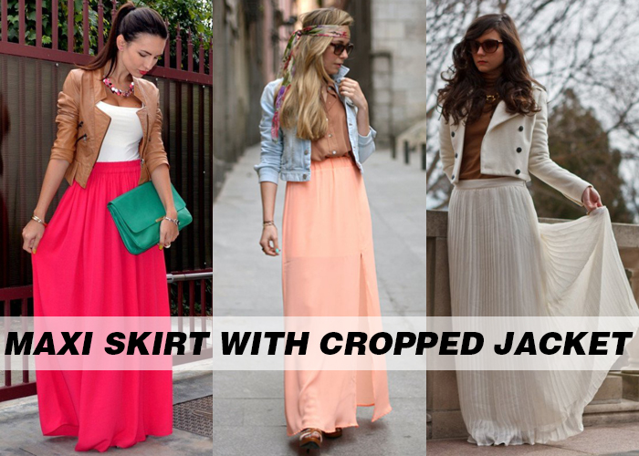 summer maxi skirts for women with cropped jacket