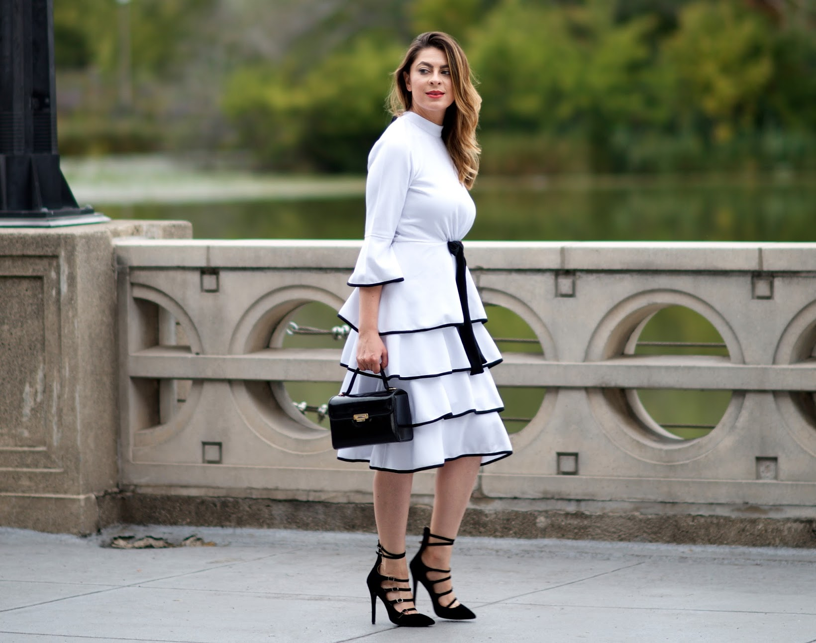 Black & white fit and flare dresses