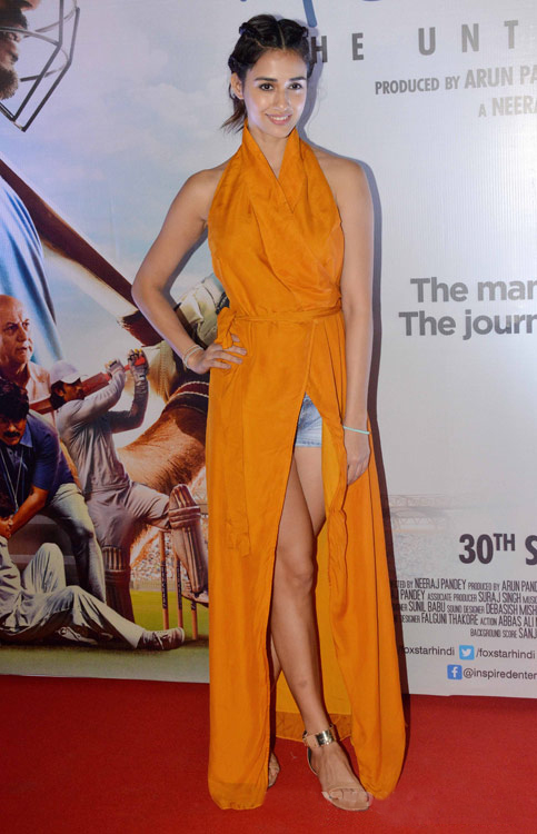 Disha Patani in slit maxi dress in MS Dhoni Promotion