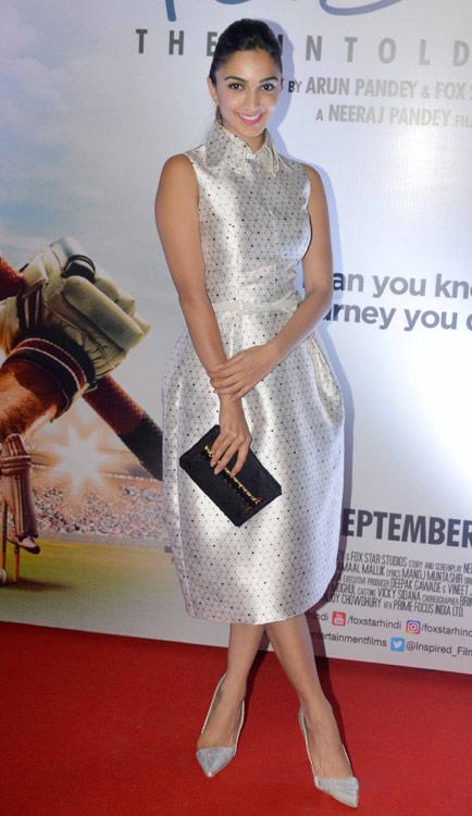Kiara Advani in beautiful fit flare satin dress in MS Dhoni Promotion