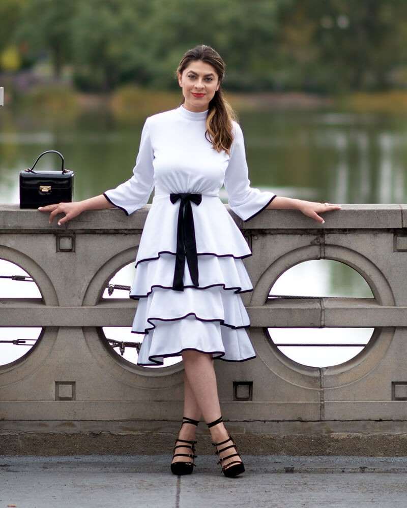 Knitted Ruffled Black & white fit and flare dresses for women