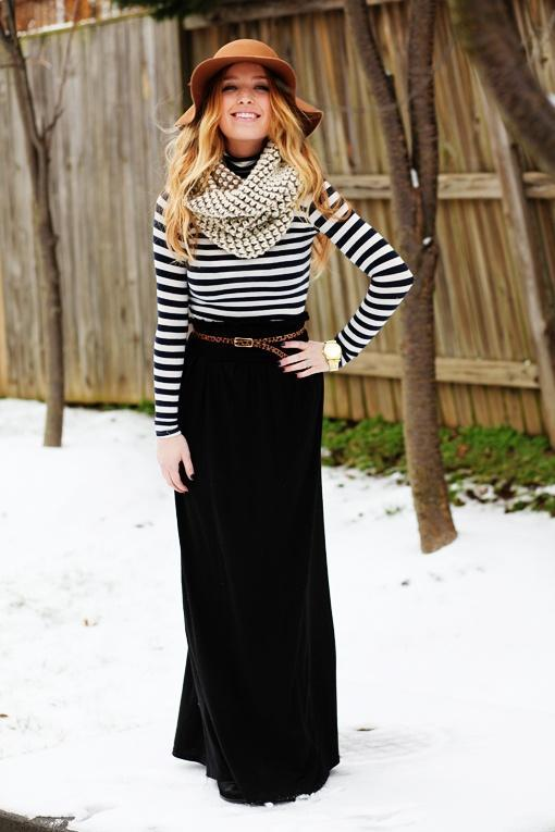 maxi skirt for women with winter stripes scarf