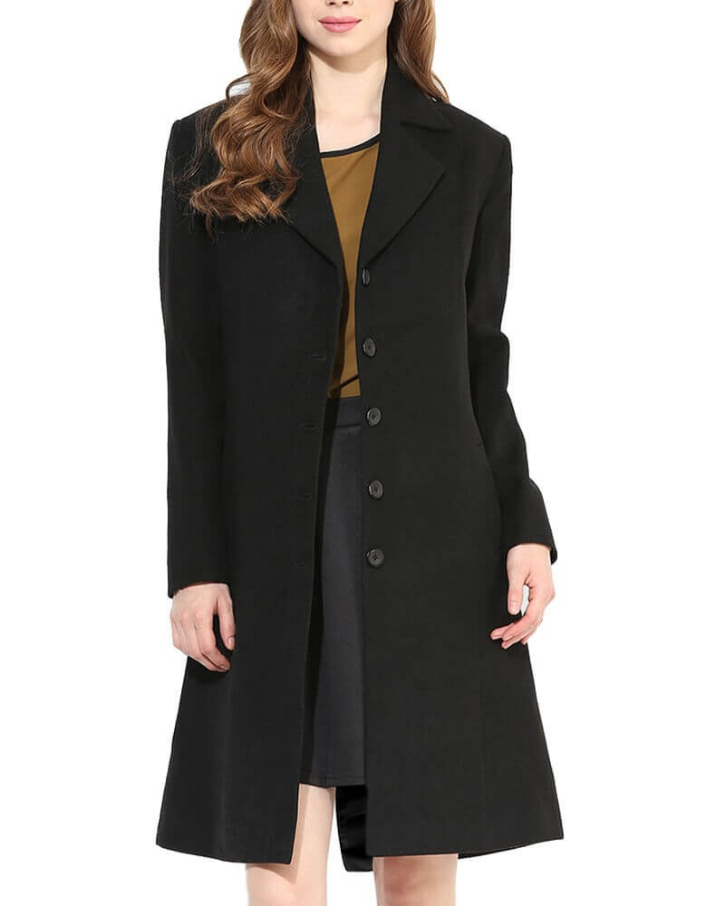 Black Solid Long Coat