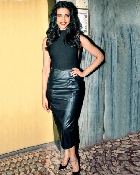 Deepika Padukone Gleam leather skirt