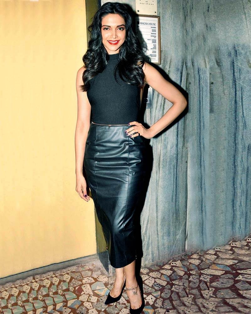 Deepika Padukone Gleam leather skirt