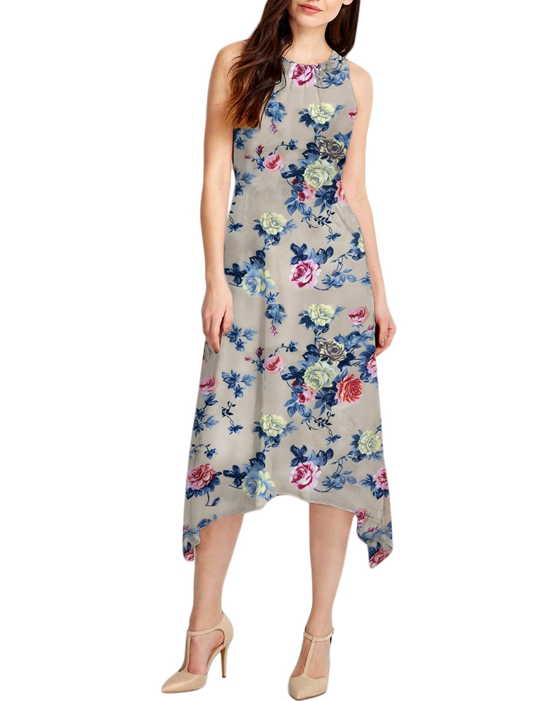 BURLYWOOD PRINTED DRESS