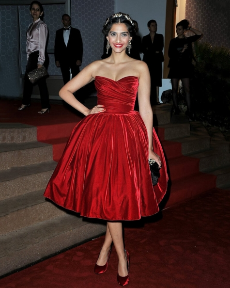Sonam Kapoor Beacon red dress