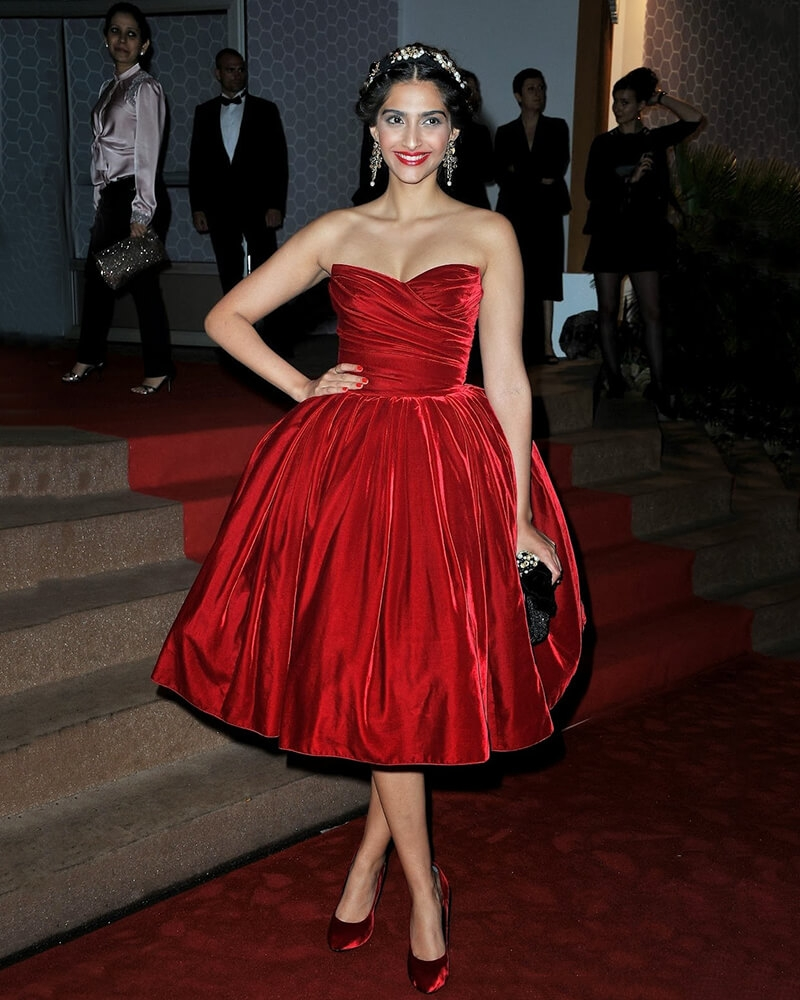 Sonam Kapoor Beacon red dress