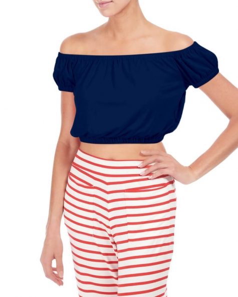 Alessandra rouched crop top